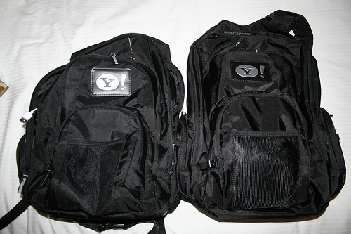 Traveling light with two backpacks.