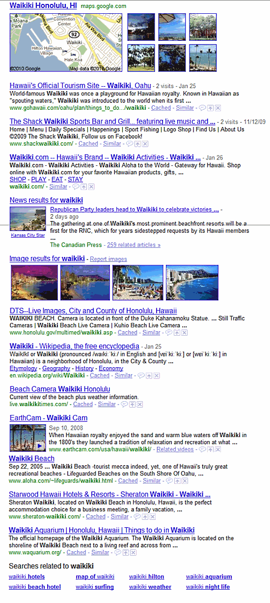 "Google Search for ""Waikiki"" Feb 2010"