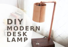 DIY Wood Copper LED Desk Lamp